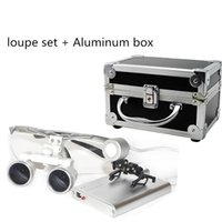 Wholesale Silver New Dentist Dental Surgical Medical Binocular Loupes X mm Optical Glass Loupe Portable Light Clip Aluminum Box