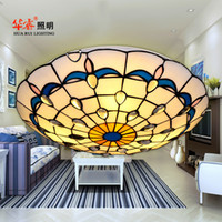Wholesale Modern Tiffany ceiling light shell artistic multicoloured glass blue white Creative flush mount ceiling lamp indoor home lights fixture