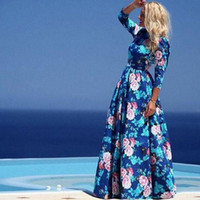 Wholesale 2016 new fashion print long dresses for women full sleeve beach dress female o neck casual cute blue bohemian maxi summer dress