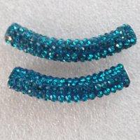 El Rhinestone cristalino curvado libre del tubo del envío 5Pcs 47x10m m pavimenta la joyería apta de la joyería de Diy de los granos del conectador de la pulsera