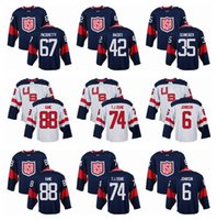 Wholesale Mens Team USA Patrick Kane World Cup of Hockey Olympics Game Navy Blue Jerseys White T J Oshie Hockey Jerseys