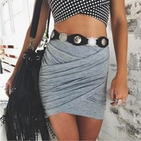 Wholesale 2016 American Apparel Street Fashion Women Lady High Waist Short Skirt Sexy Bandage Bodycon Cross Fold Pencil Skirts