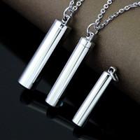 ash wedding - Fashion L Stainless Steel Tube Shape Perfume Bottle Cremation Urn Pendant Bone Ash Holder Mini Keepsake Necklace