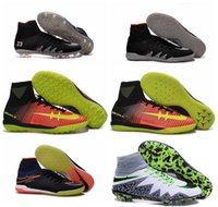 Wholesale 2016 Kids Soccer shoes Leather Neymar NJR X Football Boots Hypervenom Men Phantom II FG Indoor High Ankle Soccer CLeats Top soccer shoes