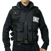Wholesale Man s Airsoft CS Military Paintball Tactical Hunting Combat Vest Molle Tactical Black Vest Swat Training Protective Vest