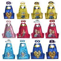 Wholesale 12 styles Double layer children Capes mask set minions frozen cinderella mermaid cape mask set for Kids CM MC0103