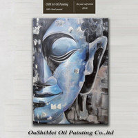 artists works - Skilled Artist Hand painted Work Modern Abstract Blue Buddha Portrait Oil Painting On Canvas For Wall Decoration