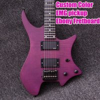 Wholesale Strandberg Boden String Purple Color Headless Electric Guitars