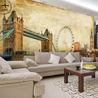 architectural wall murals - Custom Any Size D Wall Mural Stereoscopic Wallpaper Vintage Retro Photo Architectural Art Background Wall Wallpaper Murals