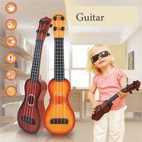 Wholesale 38CM Mini Ukulele guitar Music Simulation Instrument Plastic Guitars Toys Children Musical Educational Toys with colors