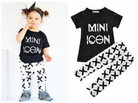 baby icon - Baby girl boy autumn outfit Mini Icon print INS sets toddler girls fashion letter TOPS cross pants set for T