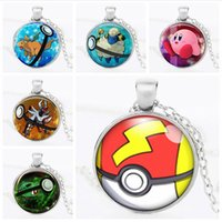 Wholesale 2016 New Game Pokémon Poke go Halder Necklace Time Gemstone Necklace cartoon Poke Ball Pikachu Jeni turtle Sylveon Pendant Jewelry Women