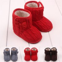 Wholesale Winter baby warm shoes Snow Boots Knitted Wool Thicken bow Infant Boots Toddler Boy Girl First Walker Shoes baby boot Shoes Mos B564
