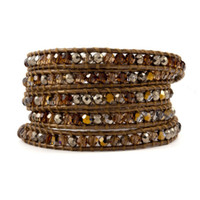 Cheap Natural Citrine & Agate beads 5 Wrap Bracelet on Leather Handmade Women Jewelry