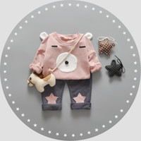baby bear hoodie - 4PC set cartoon bear children boys and girls clothing sets hoodie pants baby autumn winter day thick set deliver