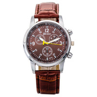 Wholesale 2016 Unisex Geneva Leather PU Quartz Watches Fashion Men Women Luxury Brand Numerals Men s Watch Casual dress wrist watches