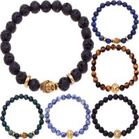 Wholesale Summer casual beaded jewelry high quality gold plated buddha lion head alloy charm mm natural stone elastic Father s day men bracelets
