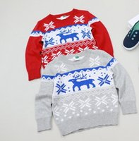 american standards parts - Gray sweater boys pullover with animal reindeer pattern front back part with printed per
