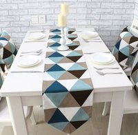 Wholesale Canvas Triangle Gemoetric Rustic Home Decor table runner Size for choose