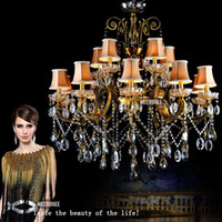 antique semi mounts - Hot Selling Big Crystal Chandelier Antique Brass Color hanging light Fitting Large Crystal Lustres Chandeliers for Hotel Project