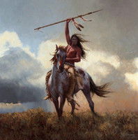 Wholesale native american warriors Genuine High Quality Pure Hand Painted Wall Decor Art Oil painting on canvas