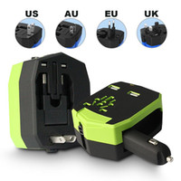 Wholesale 2 in Universal Worldwide Global Armour AC Adapter Travel Charger Car Charger for iPhone for iPad for iPod for Samsung and Tablets