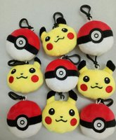 Wholesale Poke Plush toys Pikachu Elf Ball keychain Pendant pikachu Elf Ball Stuffed Animals Plush Toys keyring cm inch E1267