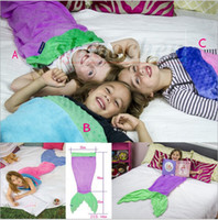 bedding throws - Kids Handmade Mermaid Tail Blankets Lap Throw Bed Wraps Warm Fleece Costume Blankets Soft Shark Mermaid Sleeping Bag Cocoon Mattress A591