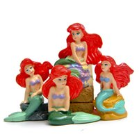 Wholesale The Little Mermaid Ariel Princess Sitting on the rocks Micro Oranments landscaping Figure doll DIY Resin Action Figure