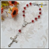 baptism bracelet - 50pcs Catholic Rosary mm Red Glass Beads Girl s Rosary Bracelet Children s First Communion Gifts Communion Baptism Favors Rosaries