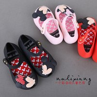 babies ankle - Hot Mickey Mouse Melissa Children s Girls Summer Sandals Jelly Princess PVC Soft Bottom baby Buckle Shoes