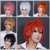 hair wigs for men - New fashion short straight anime cosplay wig for women men high quality black white colors synthetic hair wig peruca