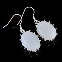 Wholesale 5 Pairs Luckyshine Friend Gift Fire Oval Moonstone Sterling Silver Dangle Earrings Russia American Australia Wedding Drop Earrings