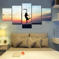 beautiful girls paintings - 5 panels of dancing girl paintings for living room Decorative beautiful landscape Picture unframed gift for friend