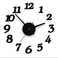 Wholesale Home Decoration New Wall Clock Creative Modern Sticker Black Brief Style Digital Numbers DIY Art Wall Clocks