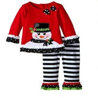 Wholesale New Arrival Girls Pieces Christmas Santa Long Sleeve Shirt Pants Outfit Set Cartoon Snowman Clothing Hot Selling