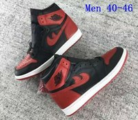 Wholesale 2016 New Released Men Womens Brand Michael OG Retro Bred High Banned Basketball Sport Trainer Sneaker Shoes Free Drop Shipping