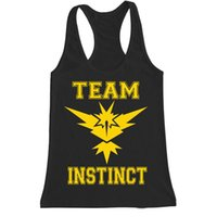 Wholesale Poke Go Team Tank Tops Team Instinct Pocket Monster Tank Top Sleeveless Shirts Vest Cartoon Action T shirt Clothing Red Yellow Blue In Stock