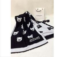 al por mayor osos bufanda-La cabeza del oso de la bufanda para el invierno de 2016 mujeres bufandas diseñador de la marca tibia sección larga de la impresión del oso de la bufanda gruesa frente dobles del todo-fósforo del cabo
