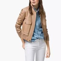Wholesale 2016 New High Quality Autumn Women Jacket PU Leather Jacket Ladies Fashion Outwear Leather Sport Jacket Tops GF5075