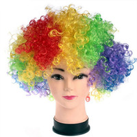 Wholesale Party Disco Clown Curly Wigs African Cosplay Wig Football Fans Adult Child Costume Hair Wigs World Cup Performance Props YD0114