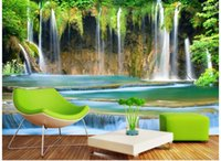 Wholesale 3d wallpaper custom photo non woven mural wall sticker d Mountain water falls painting picture d wall room murals wallpaper