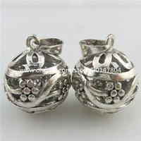 bells findings - 19551 Fashion Jewelry Vintage Silver Tone Alloy Musical Cage Flower Bell Pendant New Crafts Findings