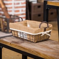 american food basket - Hot selling American country iron storage basket with handle wire basket with linen willow basket good quanlity
