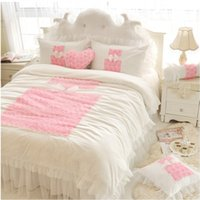 Adult bedding country quilt - Korean Pink Rose Princess Bedding Sets Queen King Lace Ruffles White Quilt Duvet Cover Bed Skirt Bedspread Bedclothes Bed Linen Cotton