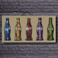 abstract bottle - No frame still life hand painted canvas oil paintings Coke bottle modern oil painting wall Art for home decoration oil painting