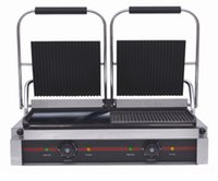 Wholesale XH D Electric contact grill non stick half ribbed half flat electric commecial contact grill press griddle Panini maker steak maker