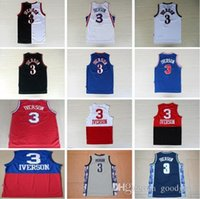 Wholesale 100 stitched For Allen Iverson jersey Cheap Retro Allen Iverson Throwback Sport jerseys Tops Black Red White
