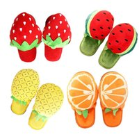 Wholesale New Arrival Winter Indoor Slippers for Men Wemen Fruit Cartoon Design Warm Cotton Fabric Foam Sole Home Furnishing Average Size