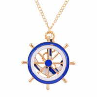anchor blue sweaters - Navy Fasion Anchor Rudder Pendant Meatl Long Necklace Blue White Golden Plated Women s Necklace Sweater Chains